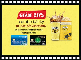 Giảm 20% combo bất kỳ cho khi thanh toán bằng thẻ tín dụng Viet Capital Bank